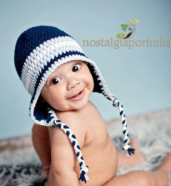 Crochet Hat Pattern Baby Boy Earflap Beanie by ...