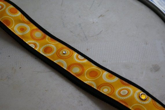Orange psychadelic guitar strap with rhinestones