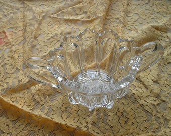 Early American pressed glass double handle open sugar