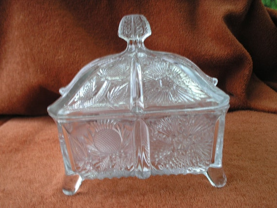 Paneled thistle covered candy dish