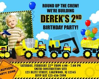 Construction Tonka Birthday Party Photo Invitations - Printable
