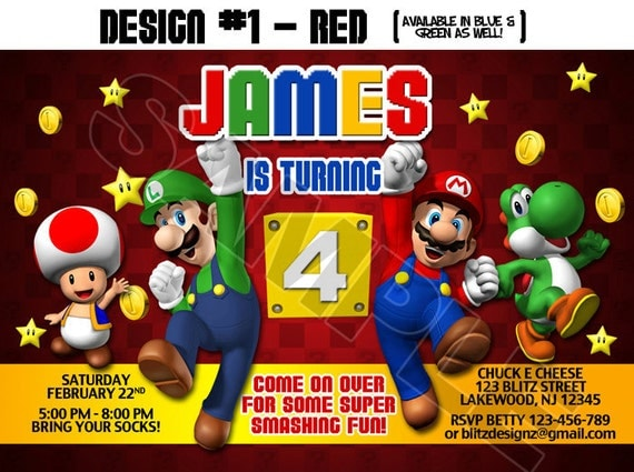 Super Mario Birthday Party Photo Invitations Luigi Yoshi Koopa – Super Mario Bros Party Invitations