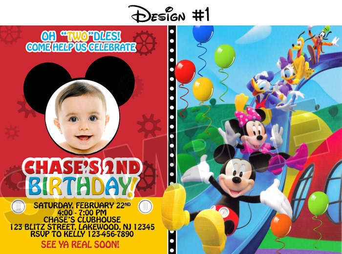 mickey mouse clubhouse birthday party photo invitations, Birthday invitations