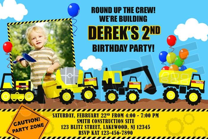 Construction Tonka Birthday Party Photo Invitations – Tonka Birthday Invitations