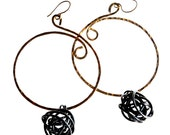 Handmade, Bronze hoop earrings with steel knots by Bolder and Beautiful for Etsy