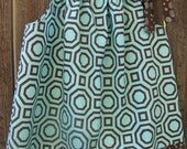 Pillowcase Dress, Turquoise and Brown Geometric, size 24mos to 3T