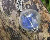 Forget Me Not Real Flower Handblown Hollow Glass Pendant Necklace