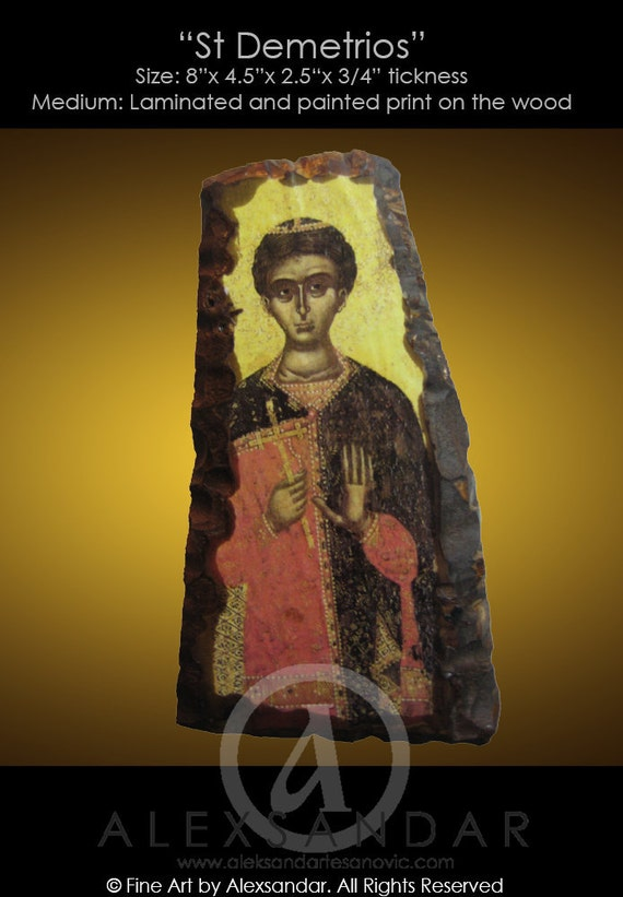 HANDMADE,Laminated Print Mounted on the Wood, SAINT DEMETRIOS - Highest Quality Icon in Truly Orthodox Style