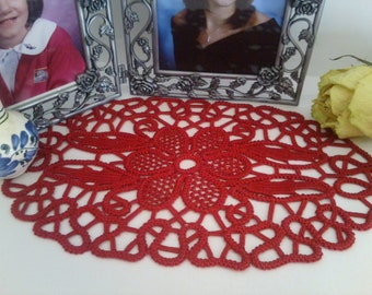 "Doily Romanian Point Lace Crochet Doily RED Floral Pattern , 9"" x 6""  #13"