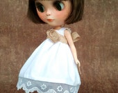 NEW Summer Collection - White Cotton Summer Dress with Lace and Beige Ribbon