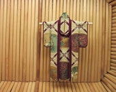 "5 inch Kimono ""Renaissance."" Fabric Origami Kimono Ornament: Gold, Green, Burgundy Fabric, Abstract Lattice. Perfect for framing."