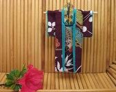 """Plum Surprise,"""" Fabric Origami Kimono Ornament. Pine, Eggplant, Turquoise, Gold, 5 inches tall. Abstract. Perfect for framing."""