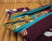 "5-inch ""Plum Surprise"" Kimono. Fabric Origami Kimono Ornament. Eggplant, Turquoise, Gold. Abstract. Perfect for framing."