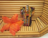"PIN 3-inch ""Tiny Aubergine Fans"" Kimono. Fabric Origami Kimono Pin: Purple Gold Warm Colors. Wearable Art. Wear it. Hang It. Frame It."