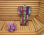 "PIN 3-inch ""Tiny Teal Fans."" Jewel Tones. Cotton Origami Kimono Pin: Wearable Art. Wear it. Hang It. Frame It."