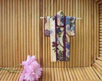 "Miniature Kimono ""Orchid Dreams."" Cotton Origami Kimono Ornament: Peonies, Tassels, Mums. Purple, Blue, Gold. 5"" tall. Hang It or Frame It."