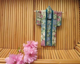 """5-inch """"Looking Skyward, Forest"""" Kimono. Fabric Origami Kimono Ornament: Handmade. Plum Blossoms, Sky. Green Blue Pink. Hang It or Frame It."""