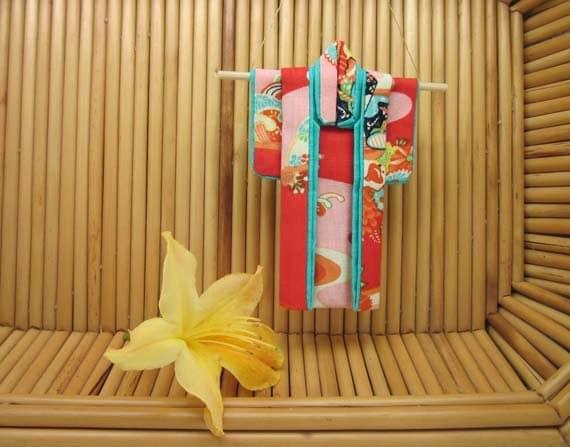 "5-inch ""Happy Childhood"" Kimono. Cotton Origami Kimono Ornament: Hang It or Frame It. Bright Cheerful Traditional Orange, Turquoise"