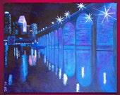 Blue Minneapolis Cityscape / 24x30 / Large Oil on Canvas / Night Scene, Stone Arch Bridge, river, bridge, water, blue, black, white, skyline