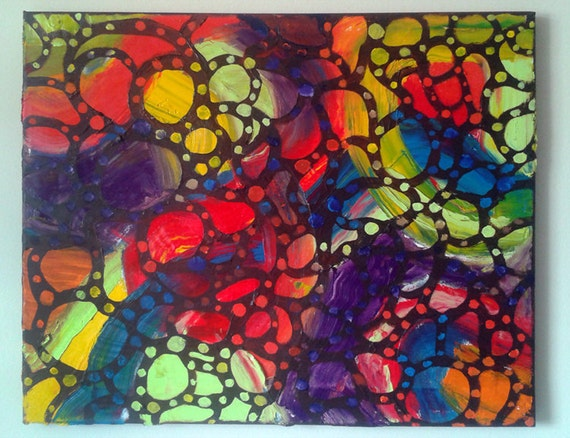 Psychedelic Pseudo Aboriginal Painting - 16x20 - Mela - Colorful Abstract Dots, Lattice work, free form, patterned, red, black, blue, yellow