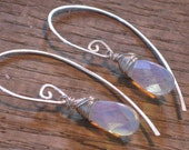 Handmade Sterling Silver Wrapped Faceted Opalite Briolette Lilac Rain Sterling Silver Earrings w Long Silversmithed Earwires