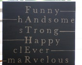 Father's Day Gift - FATHER Adjective - Hand Painted Sign