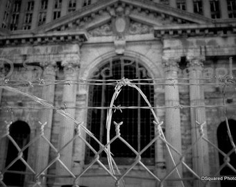 Detroit Photography - Detroit Train Station - Razor Wire