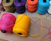 Pink and yellow combo: Waxed polyester cord, 66 feet, for macramé, Jewelry making, etc.