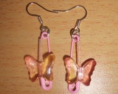 Butterfly Safety Pin Earrings (Pink and Yellow)