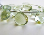 Amethyst, Green, Heart Briolettes, Micro Faceted, AAA, 11mm, Matched Pair