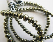 Pyrite Beads, Rondelles, aaagems, Micro Faceted, AAA, 3-5mm, Half Strand, 8 inches