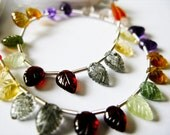 Precious Multi-Gemstone Carved Leaves, AAA, Half a Strand, 7-10mm Beads