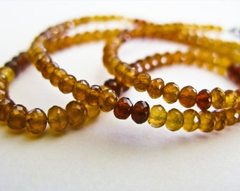 Hessonite Garnet Rondelles, AAA, Micro Faceted, 4-4.25mm, 8 inches