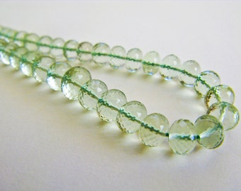 Green Amethyst Rondelles, Beads AAA, Micro Faceted, 2-4mm, 8 inches