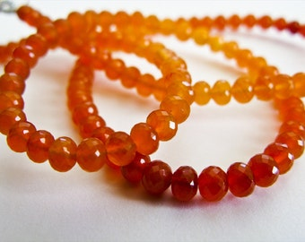 Carnelian Rondelles, aaagems, Micro Faceted, AAA, 5mm, Full Strand, 16 inches