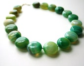 Gorgeous Green Necklace, Gemstone, Beaded, Agate, Lime, Kelly Green, Circle, Emerald Green, Moss, Olive