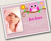 Baby Girl Owl Birth Announcement - Digital Copy -Print your own