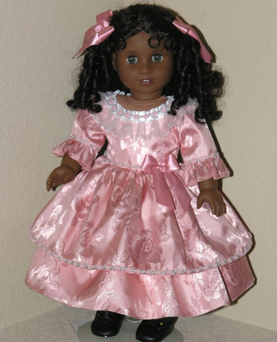 American Girl Doll Clothes -  Marie Grace Cecile - Dress, Pantalettes, Hair Ribbon - Dusty Rose Brocade Satin