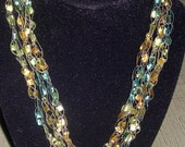 Adjustable Ladder Crocheted Necklace - Green & Yellow