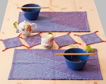 SALE Spring and autumn sashiko coasters and place mats set, cotton fabric houseware, traditional embroidery