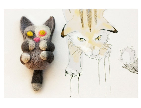 Cat doll felted soap, bast whisp from the wool with a soap inside, soft toy for bath or shower