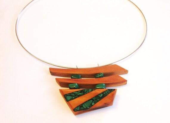 Wood and malachite pendant, pear wood, natural, malachite pendant