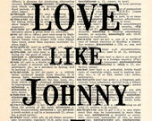 Johnny and June Dictionary Print - Upcycled Dictionary Print, Vintage Art, Upcycled Art