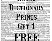 Buy 2 Dictionary Prints Get 1 FREE - Upcycled Dictionary Print, Vintage Art, Upcycled Art
