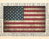 American Flag Dictionary Print - 4th of July - Upcycled Dictionary Print, Vintage Art, Upcycled Art