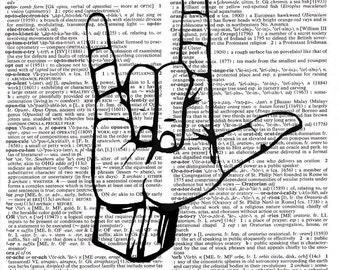 I Love You Dictionary Print - Sign Language - Upcycled Dictionary Print, Vintage Art, Upcycled Art