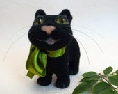 Needle felted cat, black cat, green bow