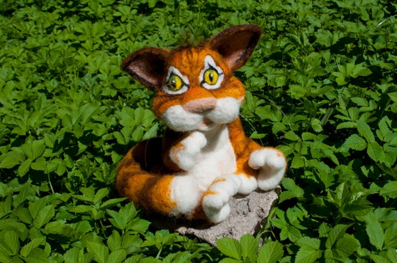 Needle felted cat, red, white, striped