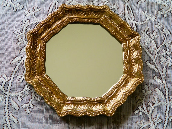 Vintage Small Octagon Gold Ornate Hanging Mirror