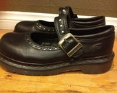 Doc Martens Shoes Mary Janes 1990 Black with Polka Dots Size 7